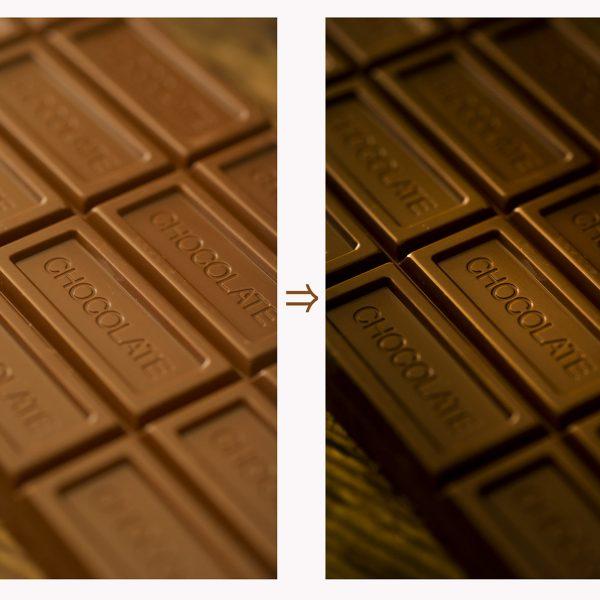 シンプルなチョコの写真もレタッチで変わります。