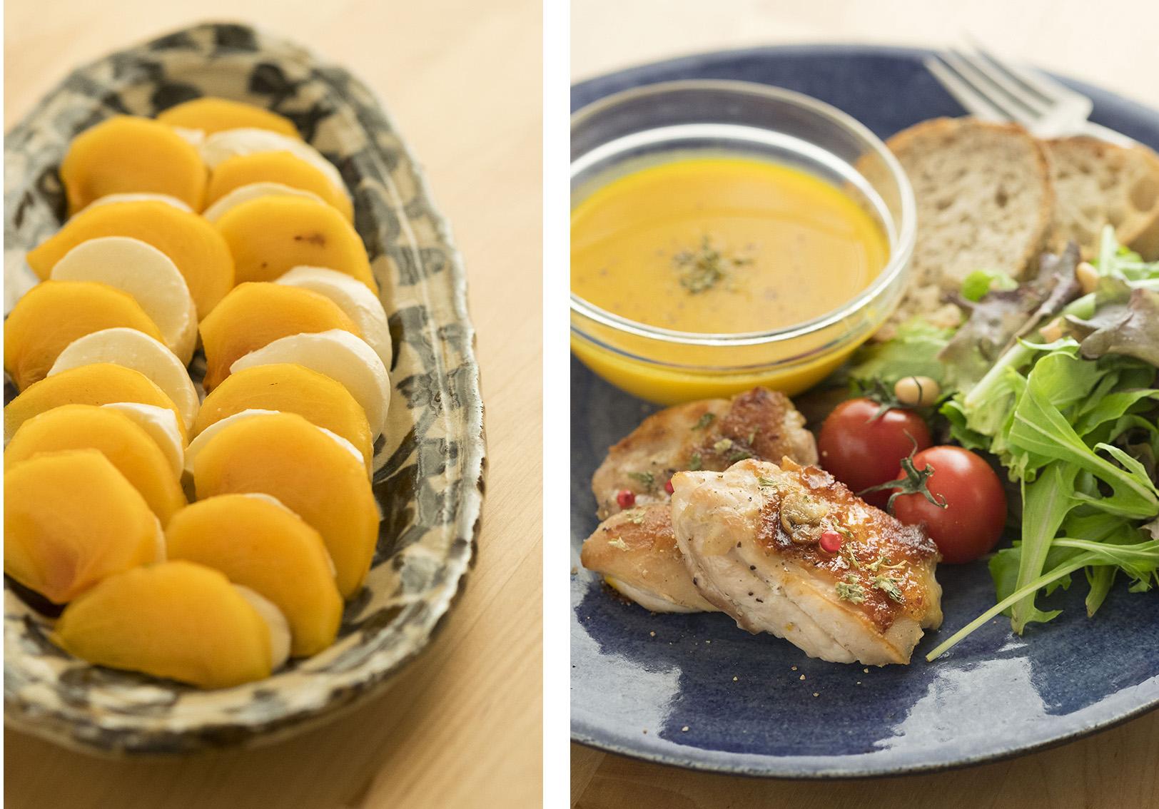 こんなお料理まで。柿のカプレーゼでしょうか。今夜やってみようかな。