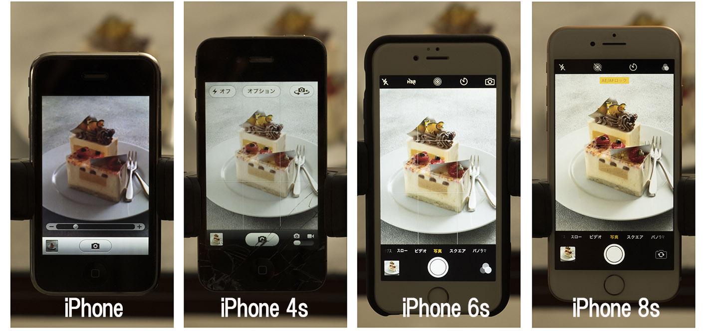 それぞれのカメラで同じケーキを撮影してみました。